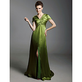 Elastic Silk-like Satin Sheath/ Column V-neck Sweep/ Brush Train Evening Dress inspired by Sex and the City