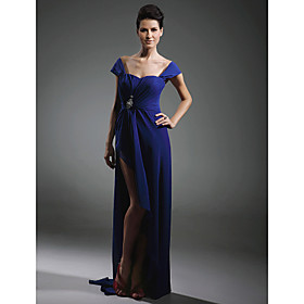 Chiffon Sheath/ Column Off-the-shoulder Sweep Train Evening Dress inspired by Mariah Carey at Oscar
