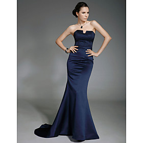 Trumpet/ Mermaid Strapless Sweep/ Brush Train Satin Evening Dress inspired by Lisa Rinna at Oscar