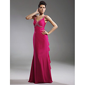 Trumpet/ Mermaid V-neck Floor-length Chiffon Stretch Satin Evening Dress