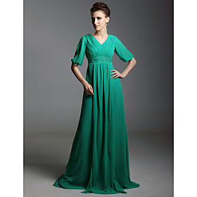 Chiffon Sheath/ Column V-neck Sweep/ Brush Train Evening Dress inspired by Gabourey Sidibe at Golden Globe