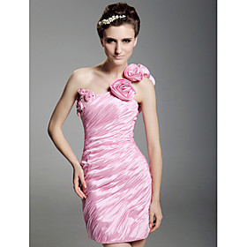 Sheath/ Column One Shoulder Short/ Mini  Taffeta  Cocktail Dresses (WSH04157)