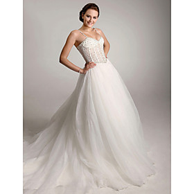 Ball Gown Straps Chapel Train Satin  Wedding Dresses (WSM04151)