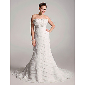 Empire Sweetheart Chapel Trains Satin Organza Wedding Dresses (WSM04117)