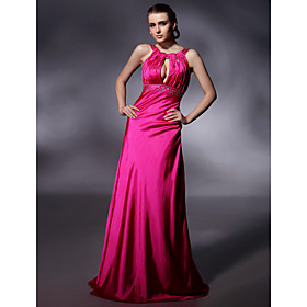 Sheath/ Column Jewel Neckline Floor-length Elastic Woven Satin Evening Dress