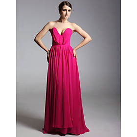 Chiffon Matte Satin Sheath/ Column Sweetheart Floor-length Evening Dress inspired by Ginnifer Goodwin at Emmy Award