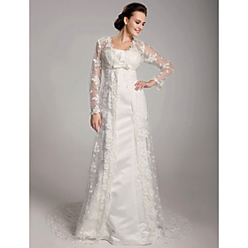 Sheath/ Column Court Train Satin Lace Wedding Dress