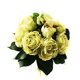 Elegant Silk Rose With Chiffon Decoration Round Wedding Bouquet /Bridal Bouquet(0797-SIM059)