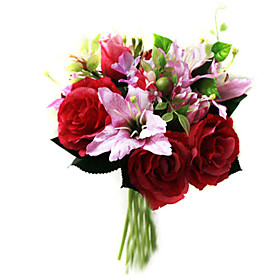 Elegant Silk Rose and Lily With Chiffon Decoration Round Wedding Bouquet /Bridal Bouquet(0797-SIM079)