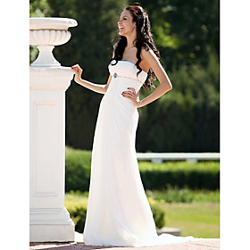 Sheath/ Column Strapless Sweep/ Brush Train Chiffon Over Satin Wedding Dress (FSY02263)