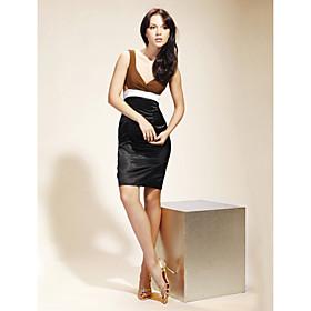 Chiffon Satin Sheath/ Column V-neck Short/ Mini Cocktail Dress inspired by Serena in Gossip Girl