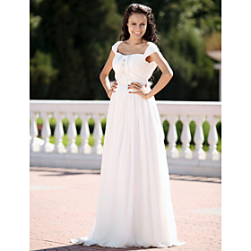 2010 Style Princess Square  Sleeveless Chiffon /  Floor-length Wedding Dress (W90912)
