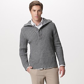 Whole Ribbed Button Front  Lapel Collar Thick  Pullover Cashmere / Men's Cashmere Sweaters