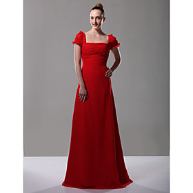 2010 style Princess Square Juliet Short Floor-length Chiffon Evening Dress (FSH0491)