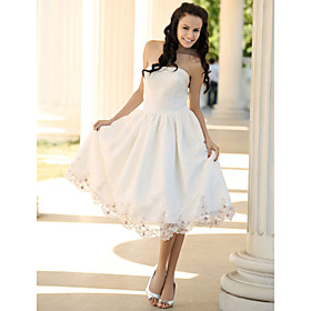 A-Line Strapless Tea-length Satin Lace Wedding Dress (HSX1217)