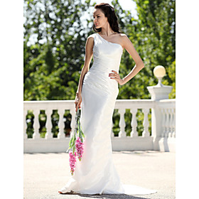 Sheath/ Column One Shoulder Sweep/ Brush Train Taffeta Wedding Dress