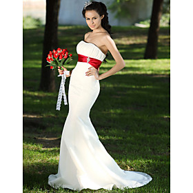 Trumpet/ Mermaid Sweetheart Court Train Satin Draped Wedding Dress