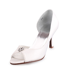 Satin Upper High Heel Peep-toes With Rhinestone Bridal Shoes