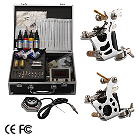 Professional Tattoo Kit With 2 Tattoo Guns and LCD Power   Free Ink