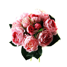 Elegant Silk Rose With Chiffon Decoration Round Wedding Bouquet /Bridal Bouquet(0797-SIM060)