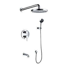 Contemporary Chrome Wall Mount Tub Shower Faucet with 8 inch Shower Head   Hand Shower