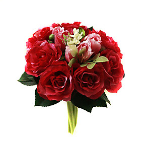 Elegant Silk Rose With Chiffon Decoration Round Wedding Bouquet /Bridal Bouquet(0797-SIM067)