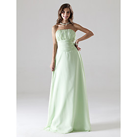 Empire Strapless Floor-length Chiffon Bridesmaid/ Wedding Party Dress (HSX104)