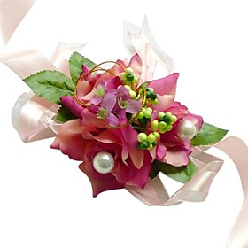 Fuchsia Silk Rose With Chiffon Decoration Wedding/ Bridal Wrist Flower