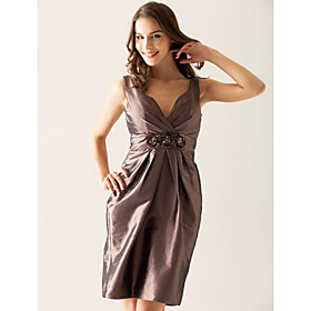 Sheath/ Column V-neck Short/ Mini Taffeta Ruffles Beading Bridesmaid/ Wedding Party Dress