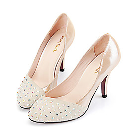 Sheepskin Heels with Rhinestones