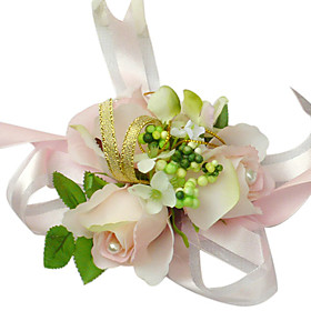 Elegant Light Pink Silk Rose With Chiffon Decoration Wedding/ Bridal Wrist Flower