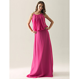 A-line Spaghetti Straps Floor-length Satin Chiffon Ruffles Separate Bridesmaid Dress(FSL0878)