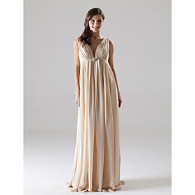 Empire V-neck Floor-length Elastic Woven Satin Chiffon Bridesmaid/ Wedding Party Dress (HSX125)