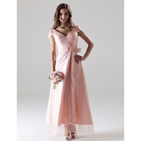 2011 Style A-Line V-neck Tea-length Satin Bridesmaid/ Wedding Party Dress (HSX060)