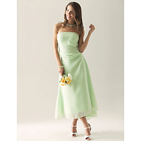 Sheath/ Column Strapless Asymmetrical Chiffon Over Satin Separate Bridesmaid/ Wedding Party Dress(FSL0881)