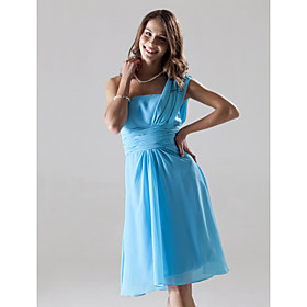 A-line One Shoulder Knee-length Chiffon Over Elastic Satin Bridesmaid/ Wedding Party Dress