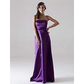 Sheath/ Column Strapless Floor-length Elastic Woven Satin Bridesmaid/ Wedding Party Dress