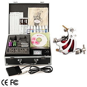 Tattoo Kit Pro 1 Guns Power Tip Needles Skin Ink Supply   Free Ink