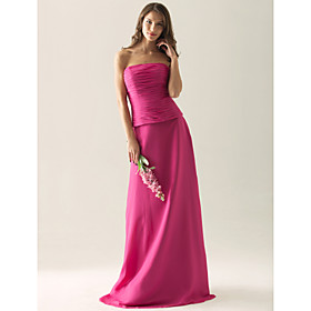 2011 Style Sheath/ Column Strapless Floor-length Chiffon Over Satin Separate Bridesmaid Dress(FSL0877)