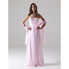 Sheath/ Column Strapless Floor-length Chiffon Over Mading Bridesmaid/ Wedding Party Dress
