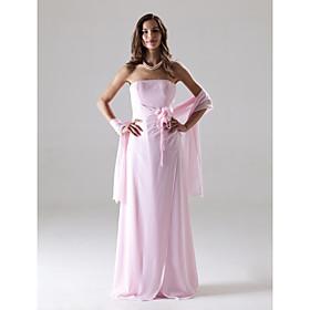 Sheath/ Column Strapless Floor-length Chiffon Over Mading Bridesmaid/ Wedding Party Dress