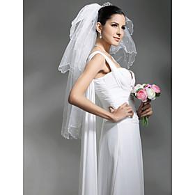 3 Layer  Elbow with Beading Wedding Veil (WAV0001)