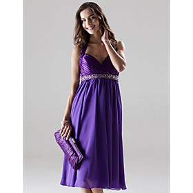 A-line Halter Knee-length Elastic Silk-like Satin Chiffon Bridesmaid/ Wedding Party/ Homecoming Dress (SHL001)