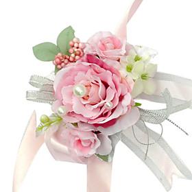 Elegant Pink Silk Rose With Chiffon Decoration Wedding/ Bridal Wrist Flower