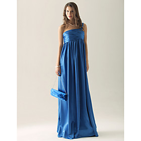 Empire One Shoulder Sweep/ Brush Train Elastic silk-like satin Ruffles Bridesmaid Dress(FSL0859)