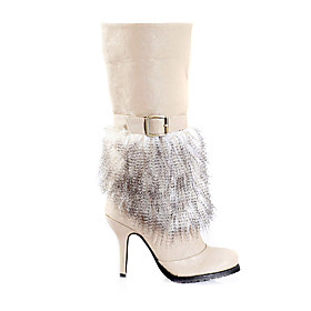 Leather High Heeled Boots w. faux Feathers