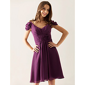 A-line V-neck Knee-length Chiffon Over Elastic Satin Bridesmaid/ Wedding Party Dress(FSL0869)