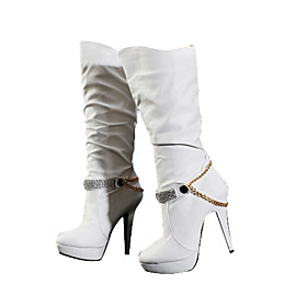 Leather High Heeled Boots with Rhinestones