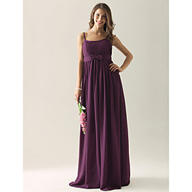 Empire Straps Floor-length Chiffon Elastic satin Ruffles Applique Bridesmaid Dress(FSL0857)