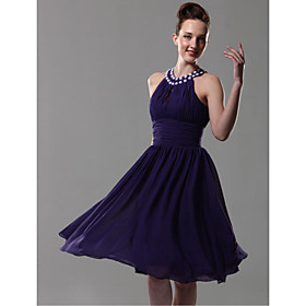 A-line Halter Knee-length Chiffon Bridesmaid/ Wedding Party Dress